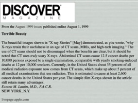 Discover magazine on misuse of CT scans.