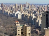 Central Park East from towering building Central Park South,